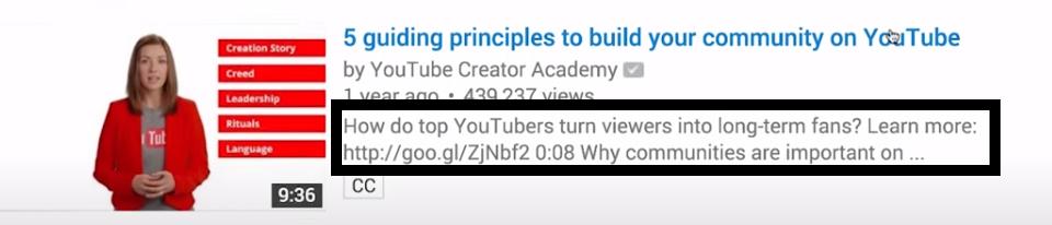 dicas para fazer descrição no youtube
